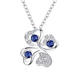 Vienna Jewelry Mock Sapphire Clover Pendant Drop Necklace