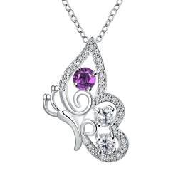 Vienna Jewelry Purple Citrine Spiral Butterfly Design Drop Necklace