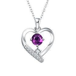 Vienna Jewelry Tiffany Inspired Mock Purple Citrine Hollow Hearts Necklace