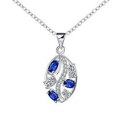 Vienna Jewelry Trio-Mock Sapphire Jewels Crystal Lining Drop Necklace