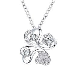 Vienna Jewelry Mock Crystal Stone Clover Pendant Drop Necklace