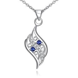 Vienna Jewelry Mock Sapphire Spiral Curved Emblem Necklace - Thumbnail 0