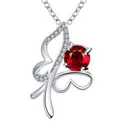 Vienna Jewelry Petite Ruby Red Hollow Flying Butterfly Drop Necklace