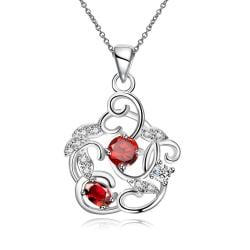 Vienna Jewelry Duo-Ruby Red Spiral Pendant Necklace