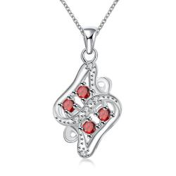 Vienna Jewelry Quad-Ruby Gem Diamond Shaped Drop Necklace