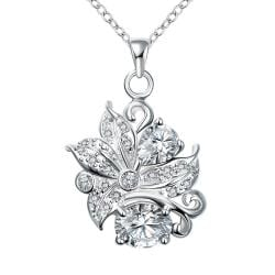 Vienna Jewelry Duo-Crystal Stone Gem Floral Pendant Necklace