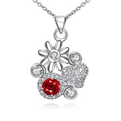 Vienna Jewelry Petite Ruby Red Gem Multi Floral Charms Pendant Necklace