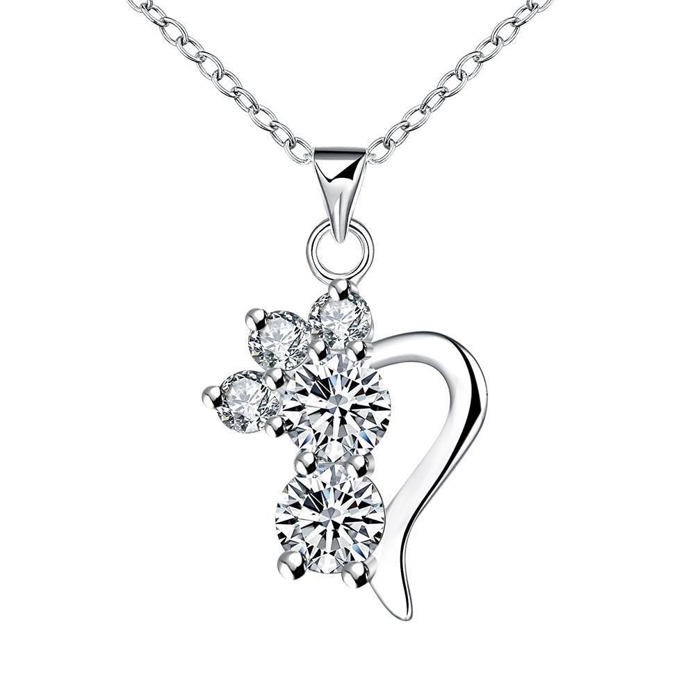 Vienna Jewelry Crystal Gem Half Curved Hear Drop Necklace