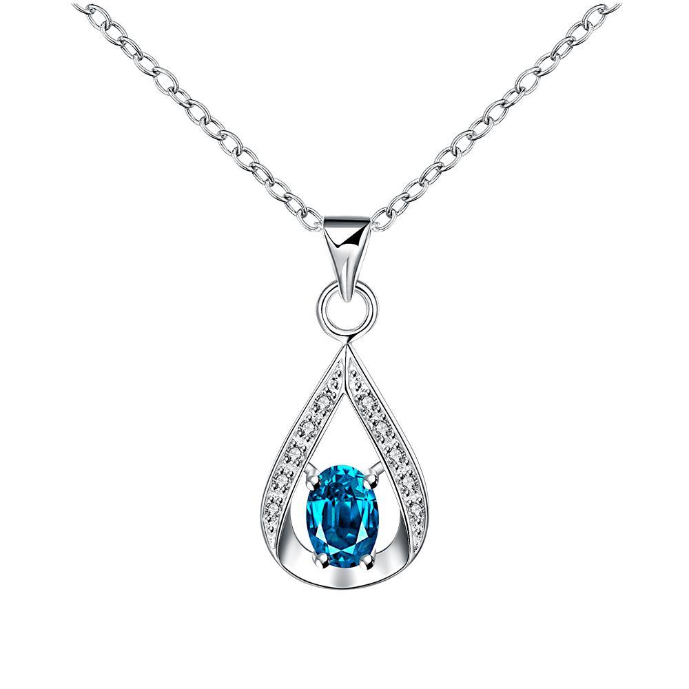 Vienna Jewelry Pyramid Light Sapphire Drop Necklace