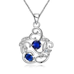 Vienna Jewelry Duo-Mock Sapphire Spiral Pendant Necklace