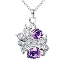 Vienna Jewelry Duo-Purple Citrine Gem Floral Pendant Necklace