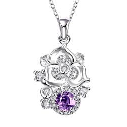 Vienna Jewelry Blossoming Spiral Floral Purple Citrine Gem Necklace