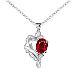 Vienna Jewelry Blossoming Ruby Heart Shaped Drop Necklace - Thumbnail 0