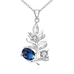 Vienna Jewelry Mock Sapphire Drop Orchid Modern Necklace