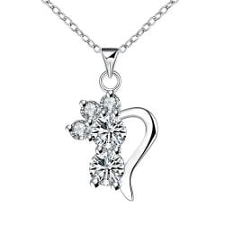 Vienna Jewelry Crystal Gem Half Curved Hear Drop Necklace - Thumbnail 0