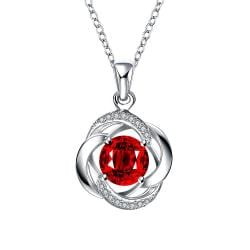 Vienna Jewelry Spiral Ruby Red Classical Drop Necklace