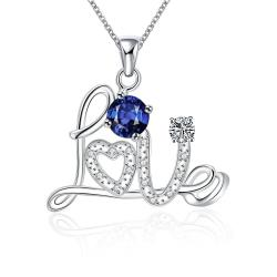 Vienna Jewelry Petite Sapphire Love Emblem Sign Necklace