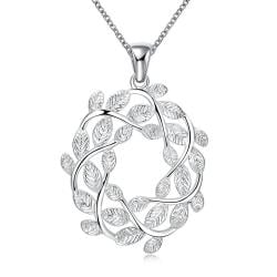 Vienna Jewelry Spiral Leaf Branch Pendant Drop Necklace