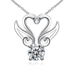 Vienna Jewelry Double Hollow Wings Crystal Necklace