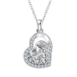 Vienna Jewelry Crystal Heart Shaped Jewels Covering Drop Necklace
