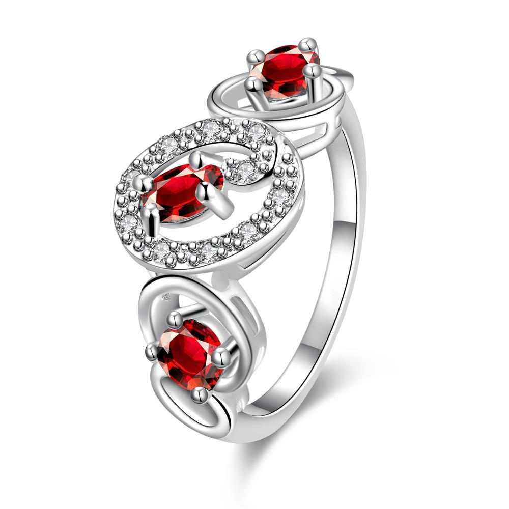 Trio-Ruby Red Circular Design Petite Ring Size 8