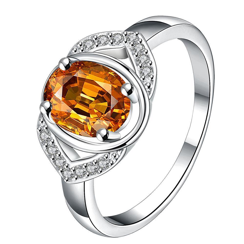 Vienna Jewelry Open Orange Citrine Gem Modern Petite Ring Size 8