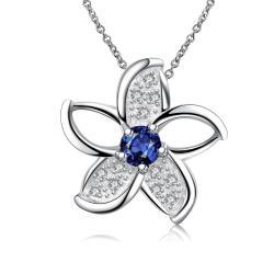 Vienna Jewelry Mock Sapphire Spiral Floral Emblem Necklace