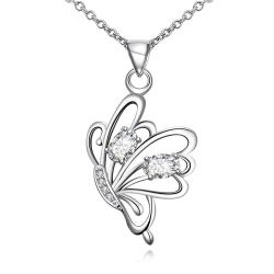 Vienna Jewelry Crystal Jewels Flying Petite Butterfly Necklace