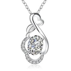 Vienna Jewelry Crystal Stone Infinite Loop Drop Necklace