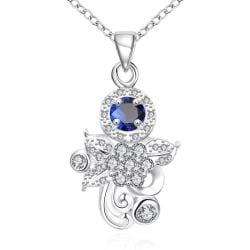 Vienna Jewelry Petite Mock Sapphire Orchid Drop Necklace