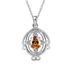 Vienna Jewelry Orange Citrine Blossoming Spiral Jewels Drop Necklace