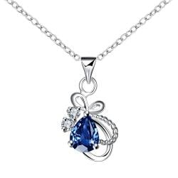 Vienna Jewelry Mock Sapphire Curved Intertwined Drop Necklace