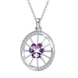 Vienna Jewelry Mock Purple Citrine Spiral Emblem Drop Necklace