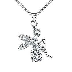 Vienna Jewelry Peacefull Angel Crystal Drop Necklace
