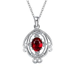 Vienna Jewelry Ruby Red Blossoming Spiral Jewels Drop Necklace