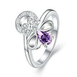 Petite Purple Citrine Swirl Floral Emblem Ring Size 8 - Thumbnail 0