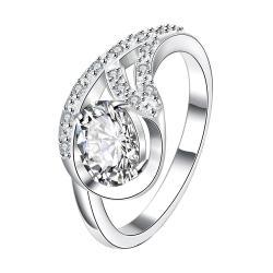 Petite Crystal Stone Spiral Pendant Ring Size 8 - Thumbnail 0