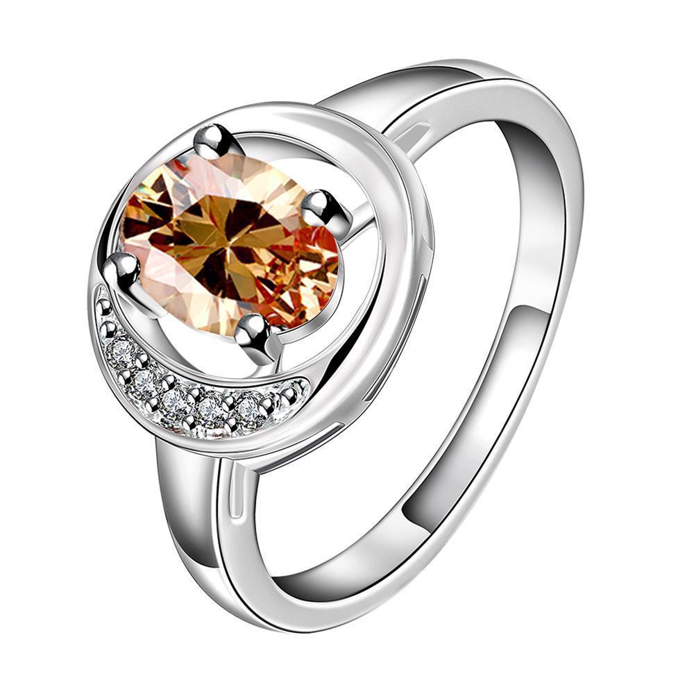 Orange Citrine Spiral Design Petite Ring Size 8