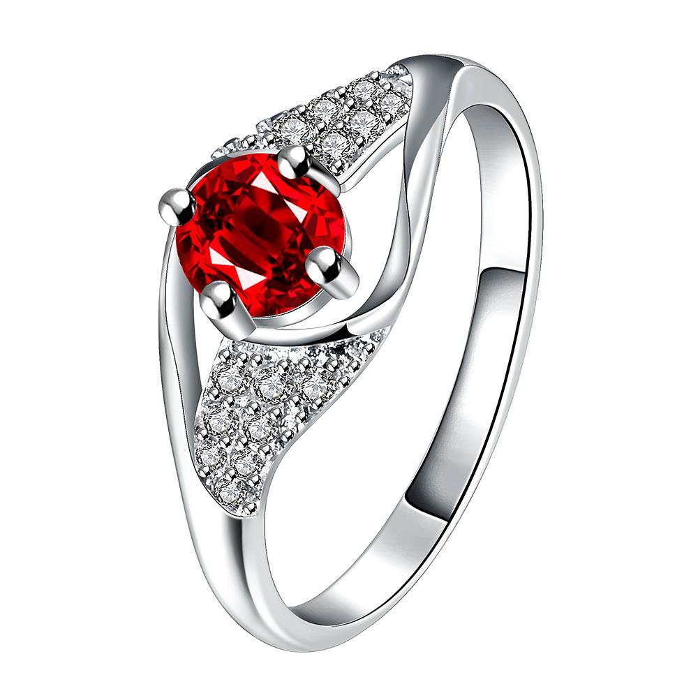 Vienna Jewelry Ruby Red Spiral Jewels Classical Ring Size 8 - Thumbnail 0