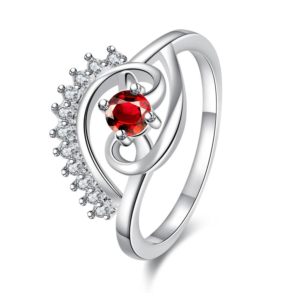 Petite Ruby Red Jewels Spiral Design Ring Size 8