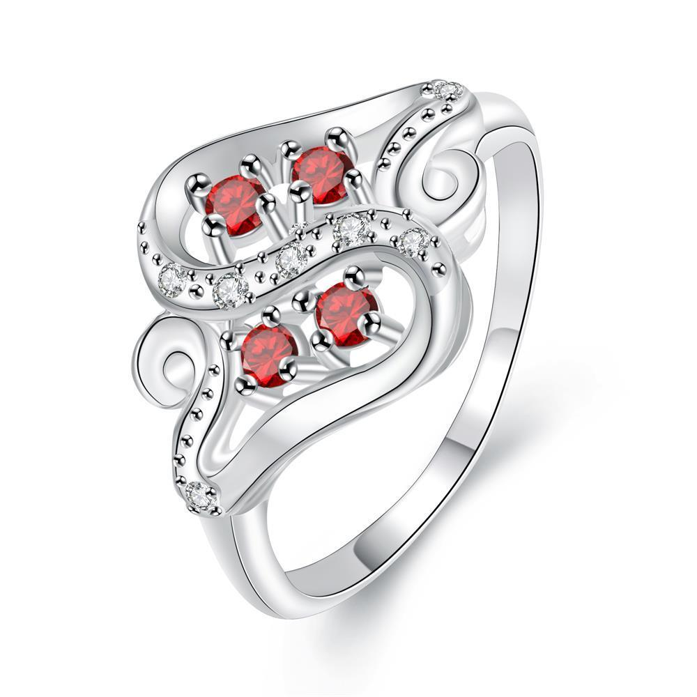 Quad-Petite Ruby Red Swirl Design Ring Size 8