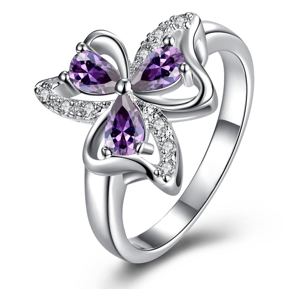 Trio-Purple Citrine Clover Petals Classic Ring Size 8