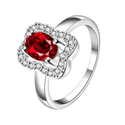 Ruby Red Square Shaped Petite Ring Size 8 - Thumbnail 0