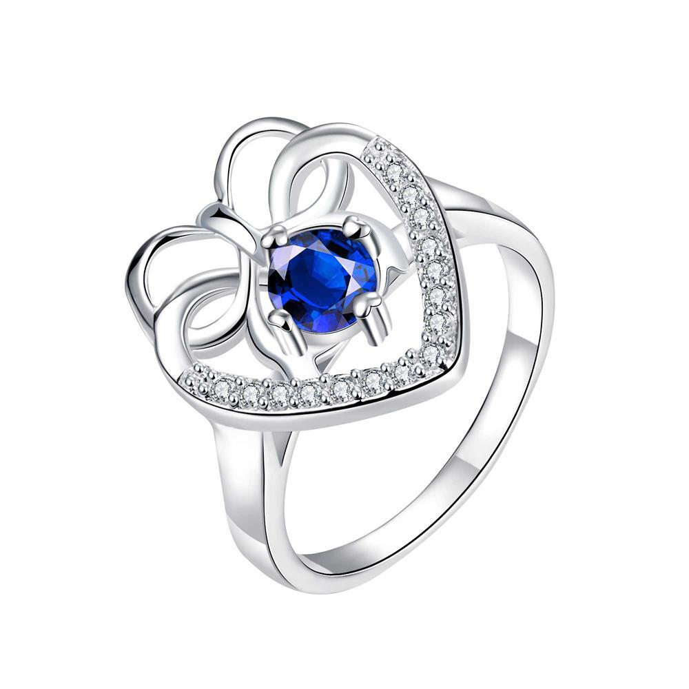 Vienna Jewelry Curved Classic Mock Sapphire Love Ring Size 8