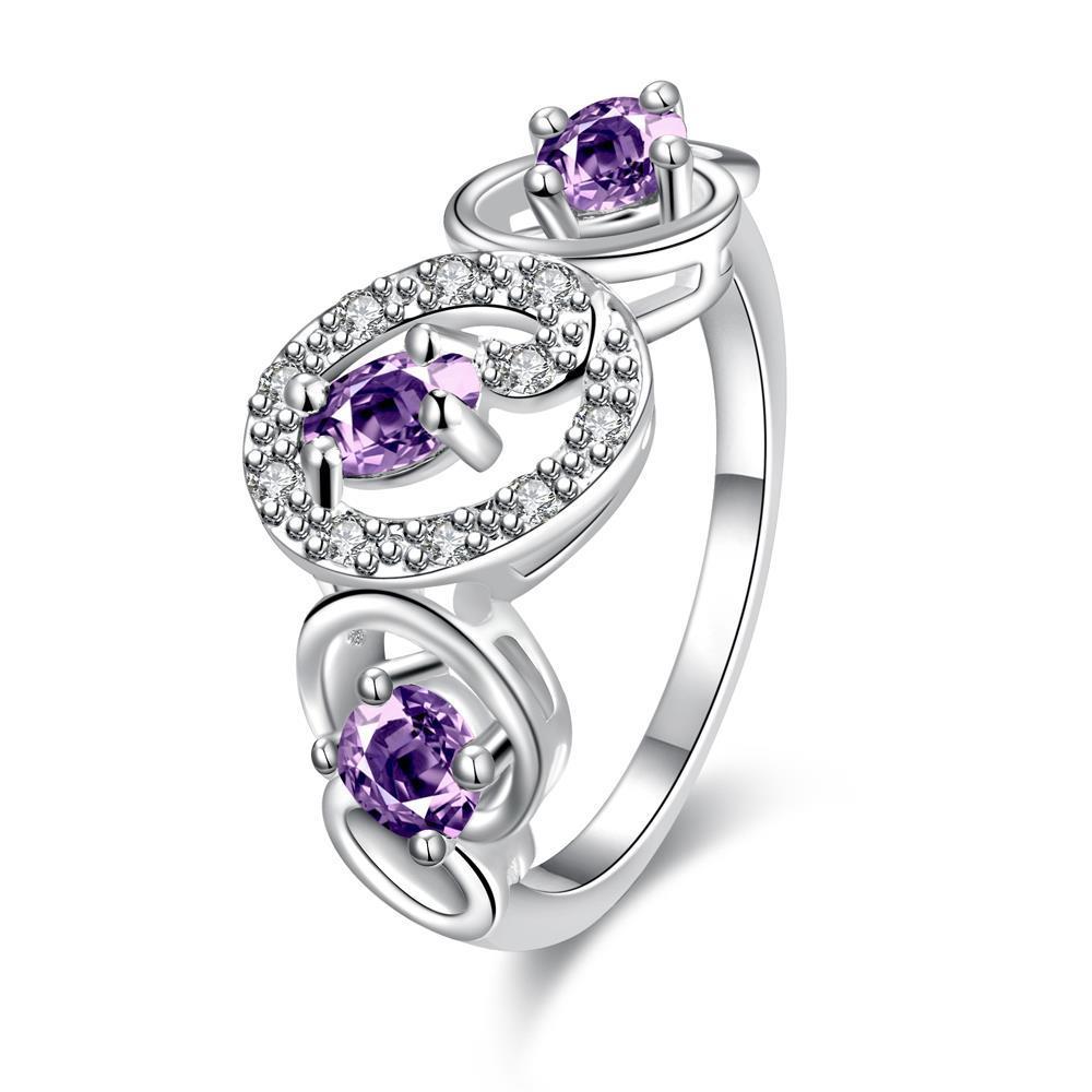 Vienna Jewelry Trio-Purple Citrine Circular Design Petite Ring Size 8