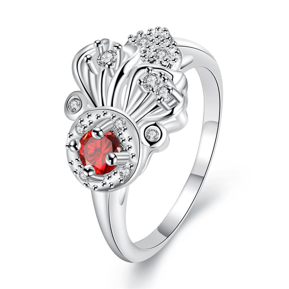 Vienna Jewelry Petite Ruby Red Curved Floral Pendant Ring Size 8