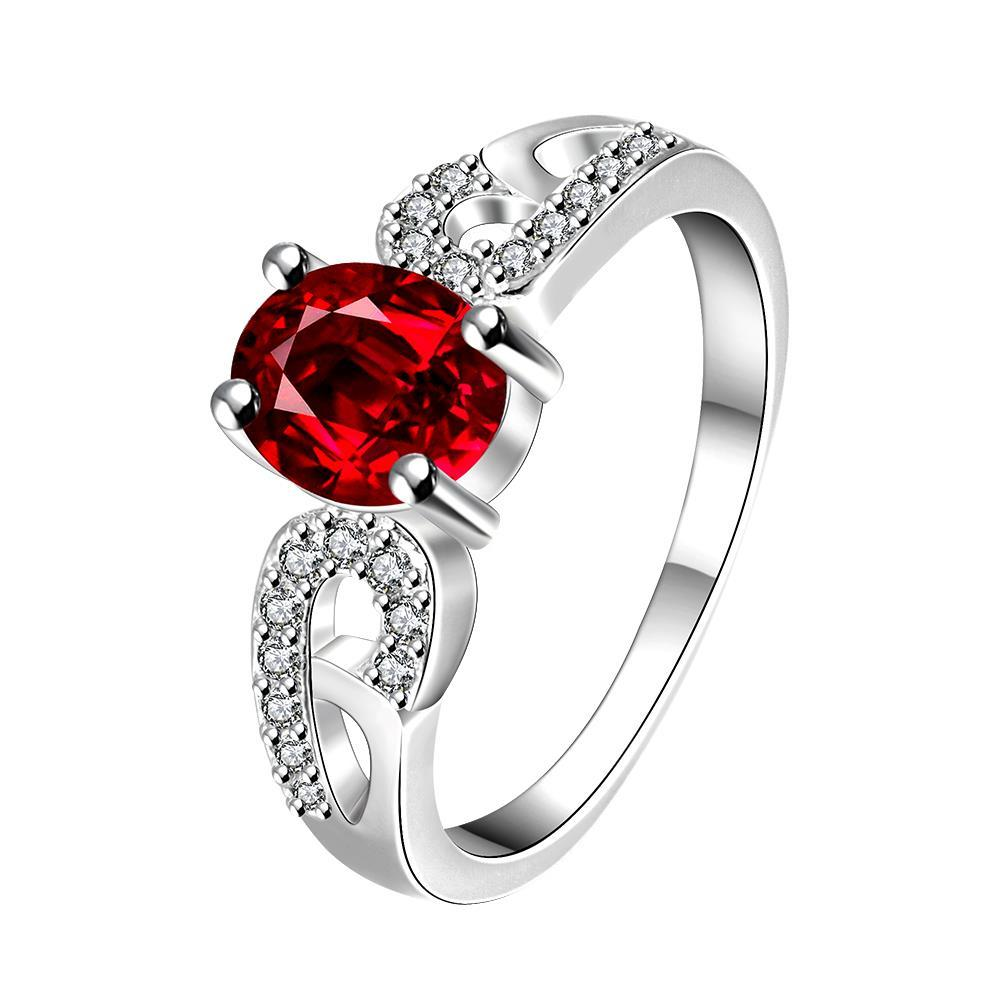 Vienna Jewelry Petite Ruby Red Laser Cut Petite Ring Size 8