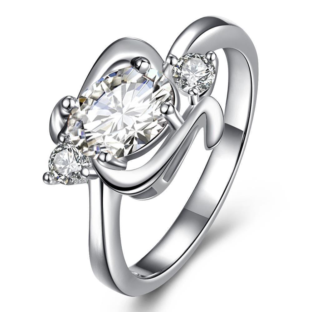 Center Crystal Gem Spiral Emblem Petite Ring Size 8