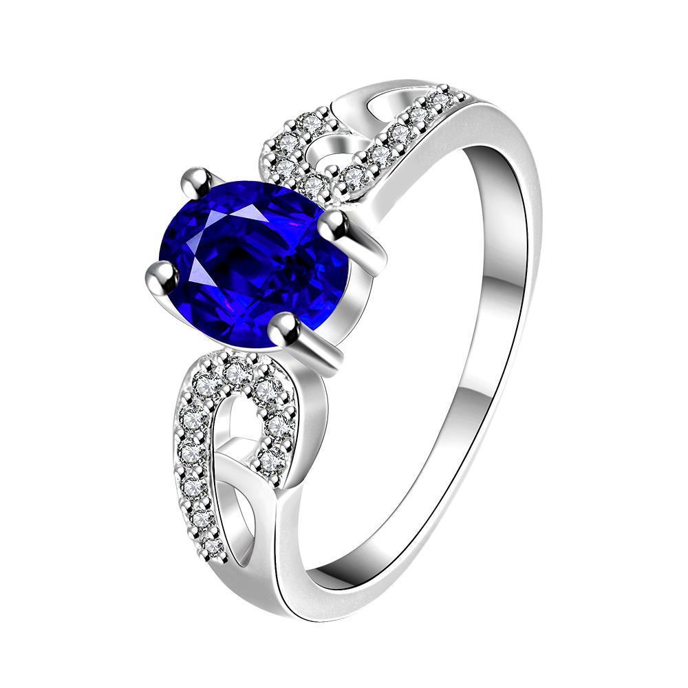 Vienna Jewelry Petite Mock Sapphire Laser Cut Petite Ring Size 8