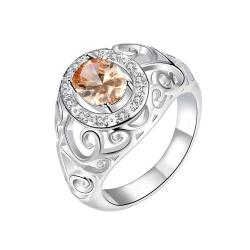 Royalty Inspired Orange Citrine Modern Ring Size 8 - Thumbnail 0